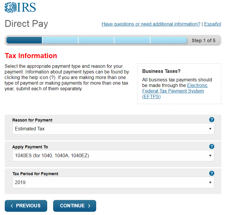 irs direct pay form 1041