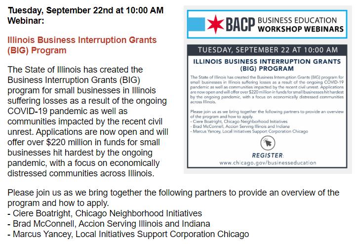 Illinois Business Interruption Grant, Round 2, Open Now — FREE WEBINAR Sept 22